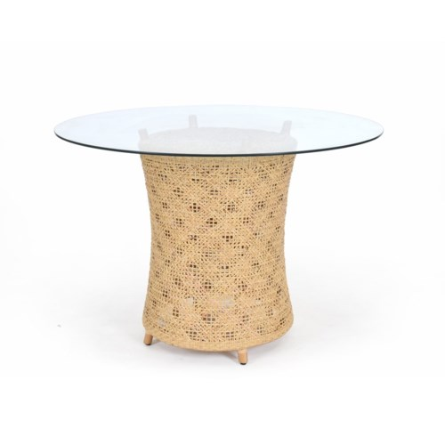 CLOSE-OUT - 50% OFF! Ava Table Base Woven Rattan Table Base Color - Natural (Glass Top NOT Incl
