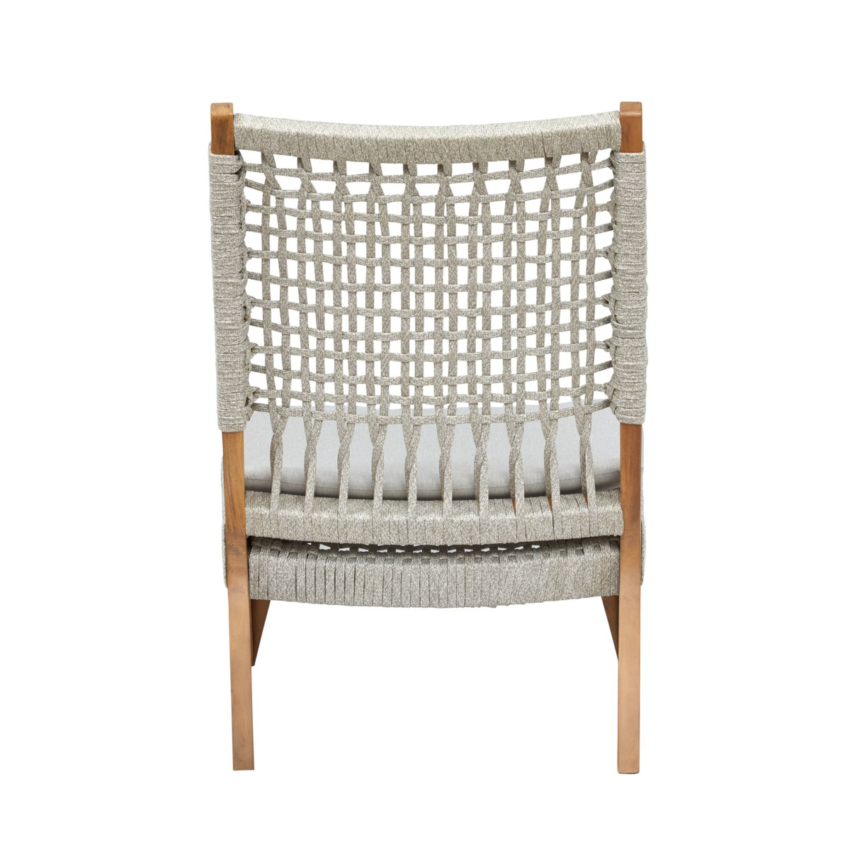 Bermuda Lounge Chair Mahogany Wood Frame Color - Natural Poly Rope - White Taupe Cushion Color -