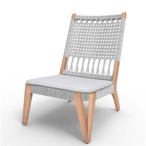 CLOSE-OUT - 50% OFF! Bermuda Lounge Chair Mahogany Wood Frame Color - Natural Poly Rope - White T