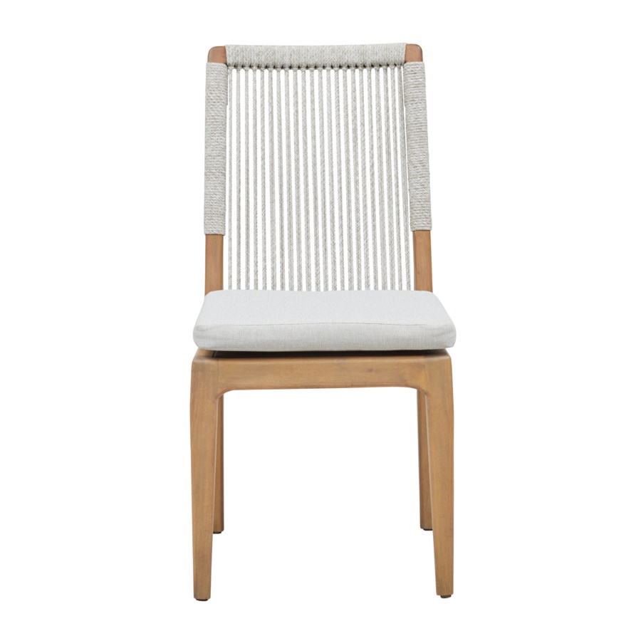 Bermuda Dining Chair  Mahogany Wood Frame Color - Natural Poly Rope Color - White/Taupe Cushion C