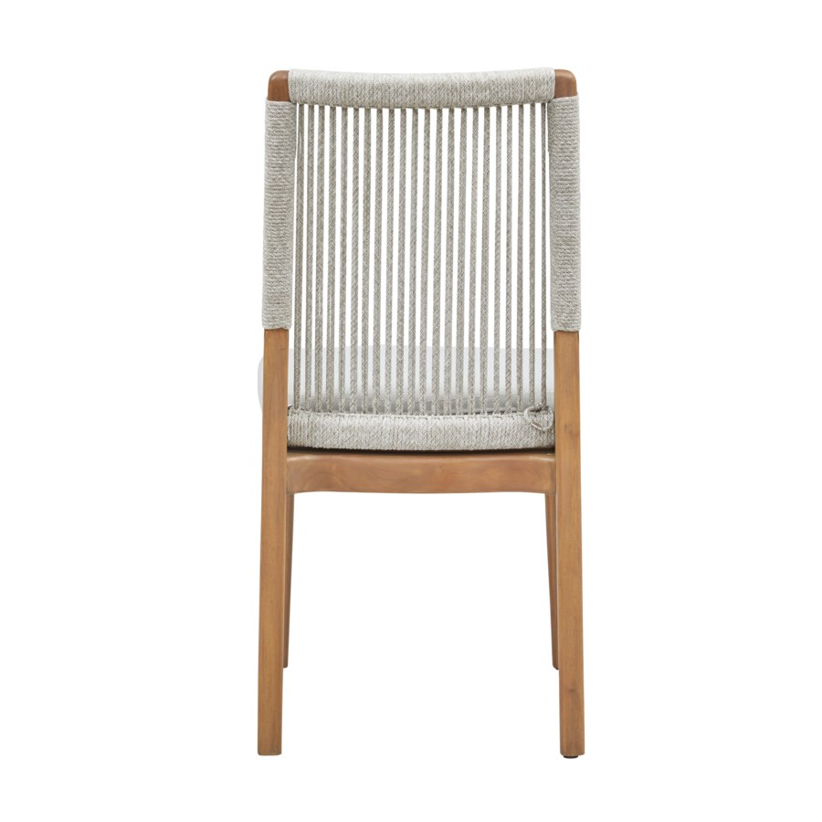 Bermuda Dining Chair Mahogany Wood Frame Color - Natural Poly Rope Color - White/Taupe Cushion Co