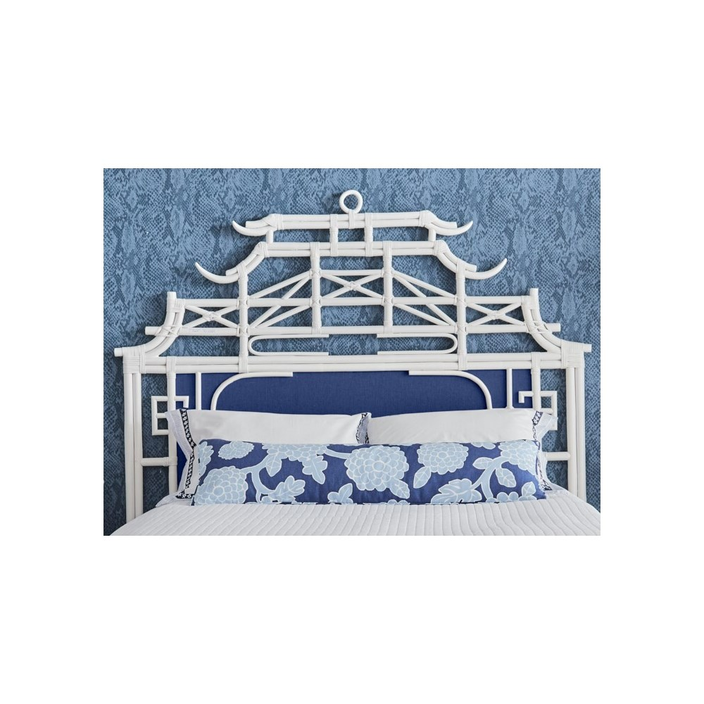 Pagoda Queen Headboard w/ Fabric Insert Frame Material - Rattan Frame Color - White Fabric Insert