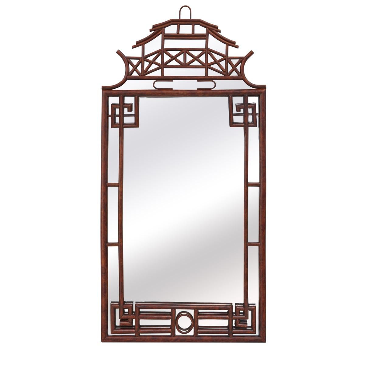 Pagoda Mirror Large Frame Material - Rattan Frame Color - Tortoise