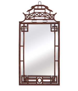 Pagoda Mirror LargeFrame Material: RattanFrame Color: Tortoise Light