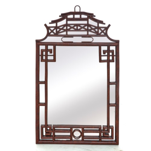 Pagoda Mirror Small Frame Material - Rattan Frame Color - Tortoise