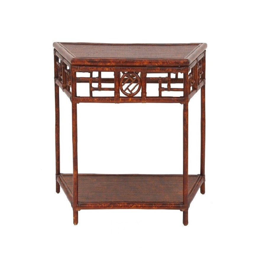 Demilune Table, Small Woven Top, Rattan Frame with Leather Wraps Color - Tortoise