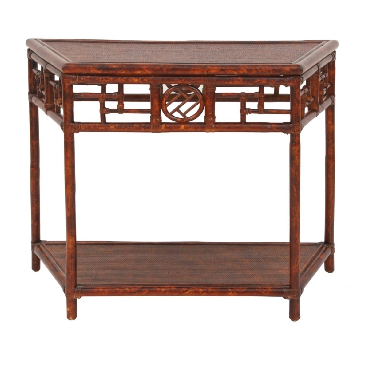 Demilune Table, Large Woven Top Rattan Frame with Leather Wraps Color - Tortoise