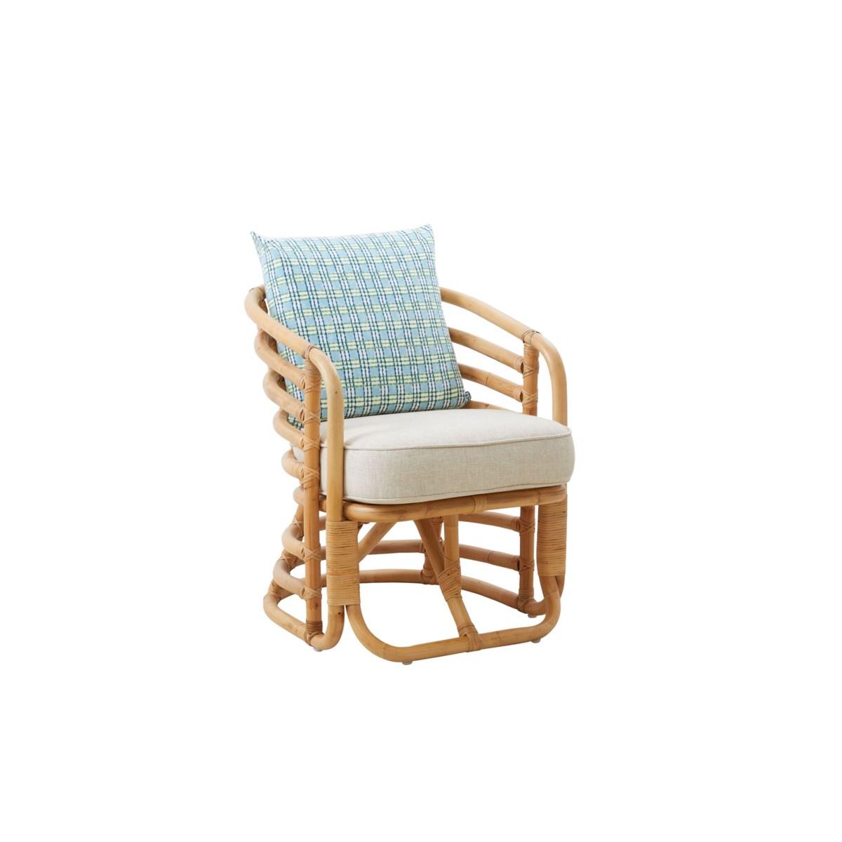 Boat Chair Rattan Vintage Reproduction Color - Antique Honey Cushion Color - Cream
