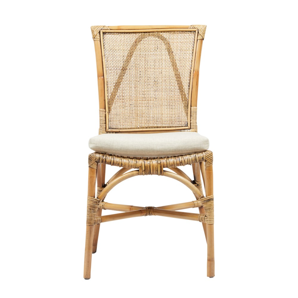 Java Side Chair Rattan Frame Color - Honey Brown Weave - Honey Brown Cushion Color - Cream Sold