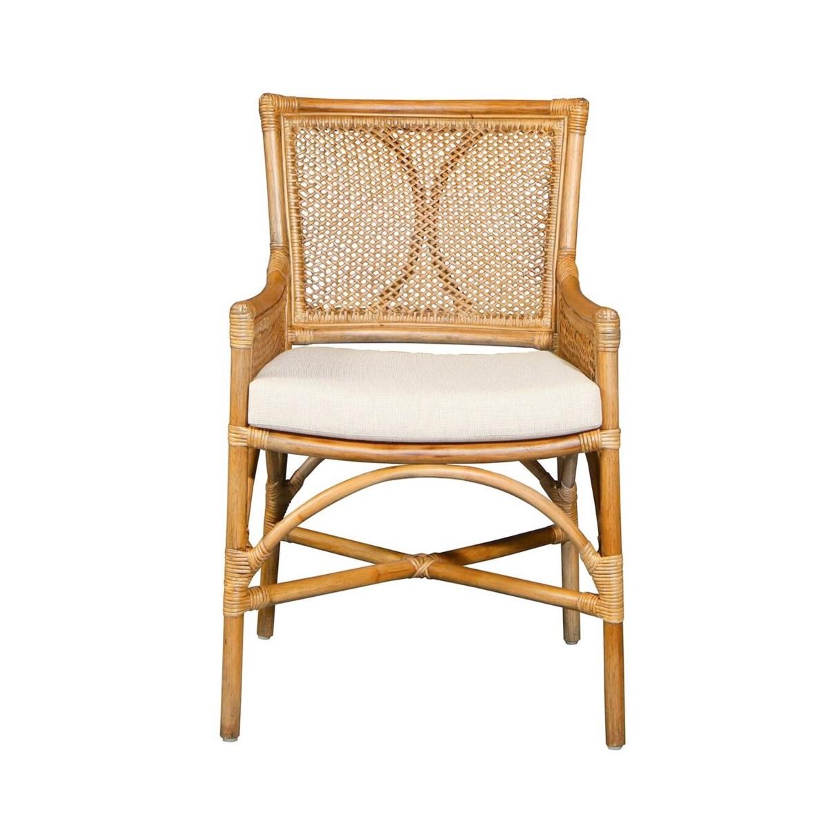 Java Arm Chair Frame Color - Honey Brown Cushion Color - Cream