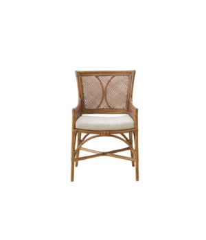 Java Arm Dining ChairFrame: Rattan /  Honey Brown WashBack: Woven Honey BrownSeat: Cushion: Cream