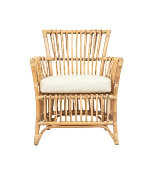 Boho Arm ChairFrame: Rattan Frame Color - Honey Brown WashSeat: Cushion - Cream