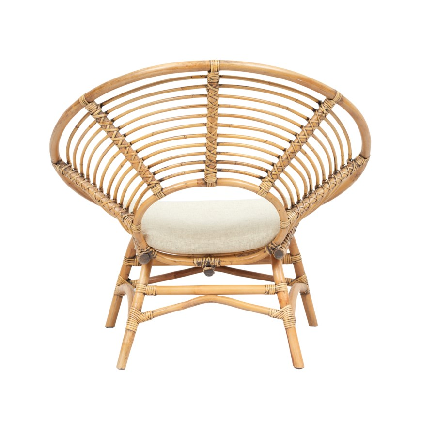 CLOSE-OUT - 50% OFF!Boho Round Chair KD Color - Honey Brown Cushion Color - Cream Some Assembly