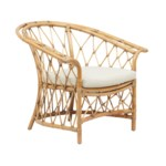 Boho Club Chair Rattan Frame Color -  Honey Brown Cushion Color - Cream CLOSE-OUT - 50% OFF!SOL