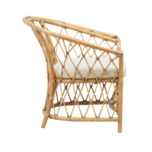 Boho Club Chair Rattan Frame Color -  Honey Brown Cushion Color - Cream