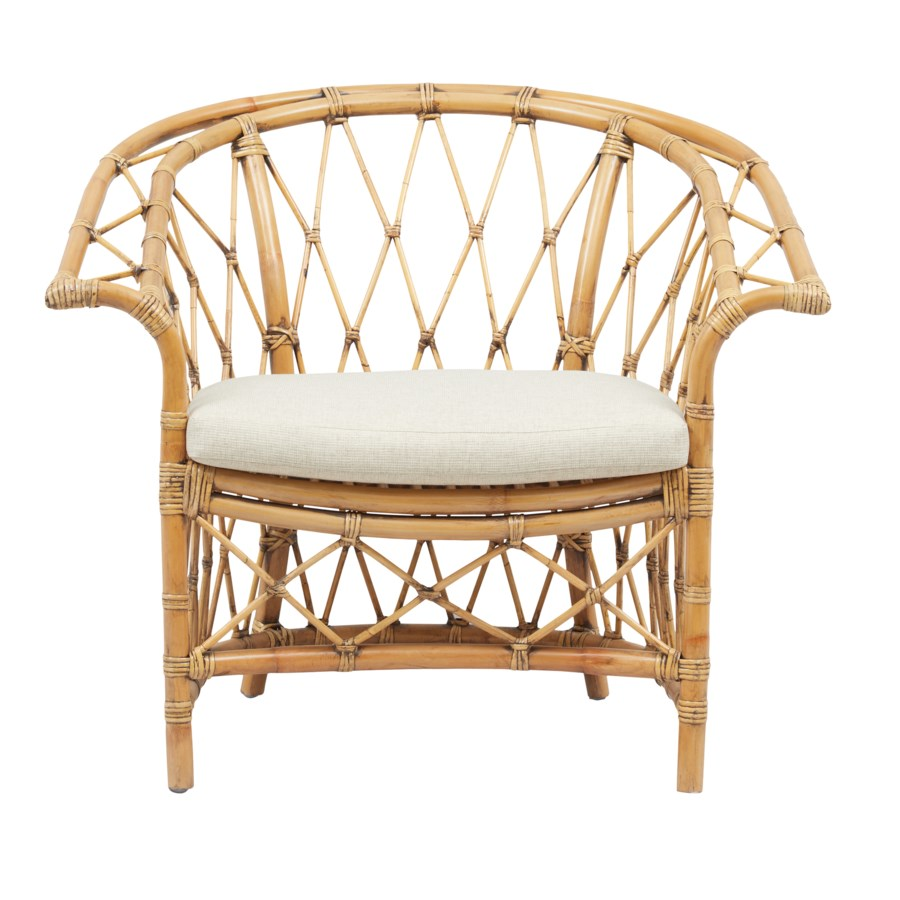Boho Club ChairRattan Frame Color -  Honey BrownCushion Color - Cream