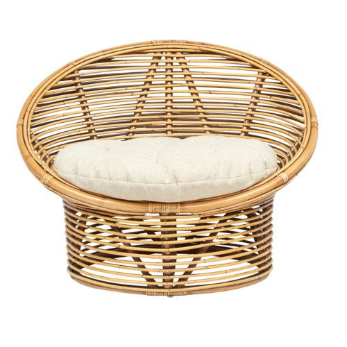 CLOSE-OUT - 50% OFF! Boho Egg Chair Rattan Frame Color - Honey Brown Cushion Color - CreamThis