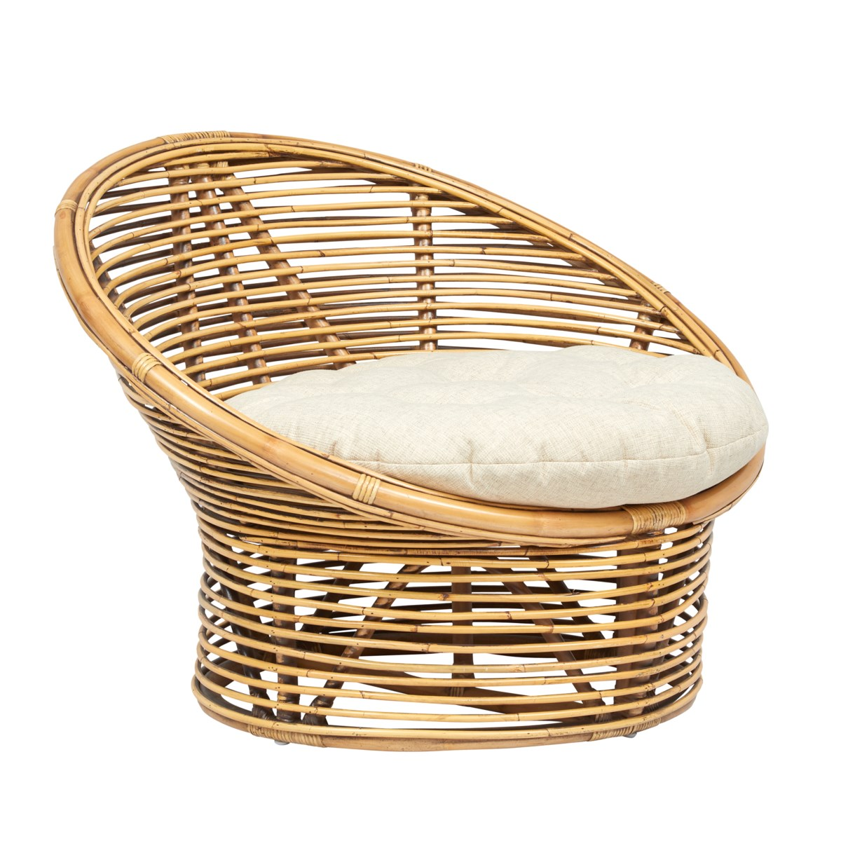 Boho Egg Chair Rattan Frame Color - Honey Brown Cushion Color - CreamCLOSE-OUT - 50% OFF!SOLD A