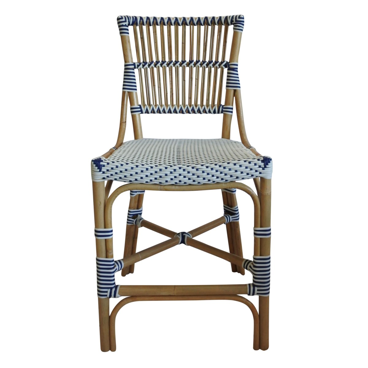 Madrid Counter Chair  Frame Color  - Natural  Woven Seat and Back  Color - White/Navy