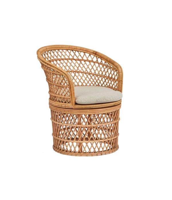 Barrel Swivel Chair Frame: Rattan/ Weave - Natural  Cushion Color-Cream