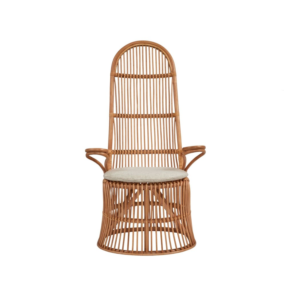 French High Back Chair Rattan Frame - Natural Cushion Color - Cream