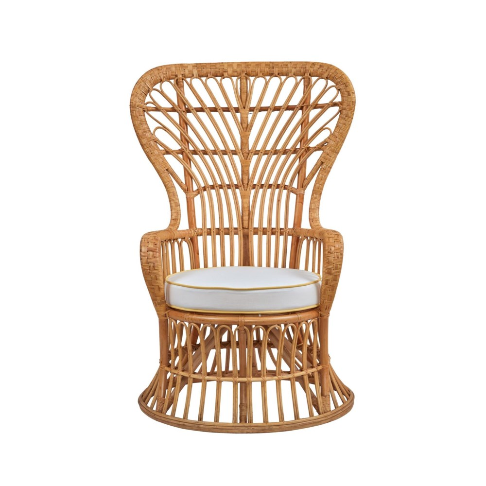 Dunmore Chair Rattan Frame - Natural Cushion - Cream