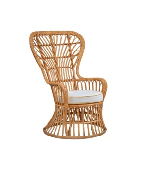 Dunmore Chair Rattan Frame - Natural Cushion - Cream