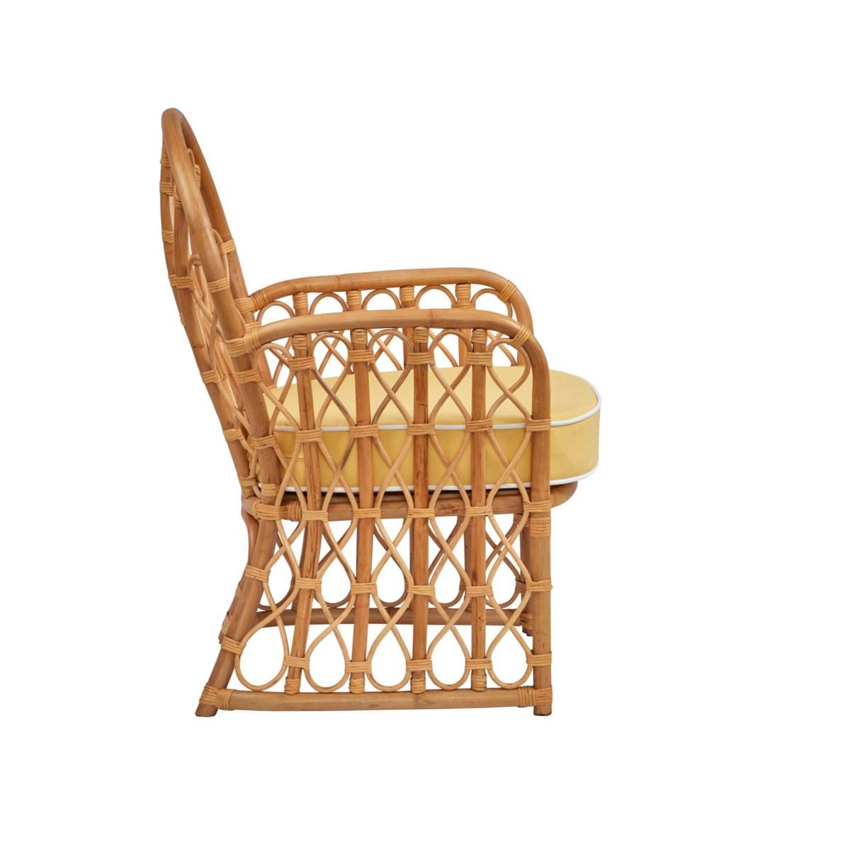 Mahogany Bay Arm Chair Rattan Frame - Natural Cushion Color - Cream