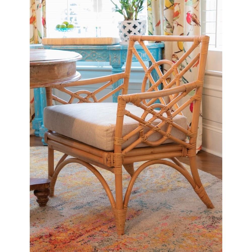 Harbor Arm Chair  Rattan Frame Color - Buff  Cushion Color - Cream Jarrett  Bay Collection