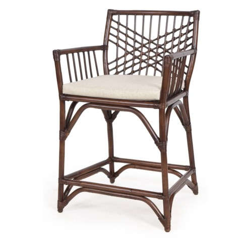 Harper Counter  Chair Frame Color - Tobacco Cushion Color - Cream