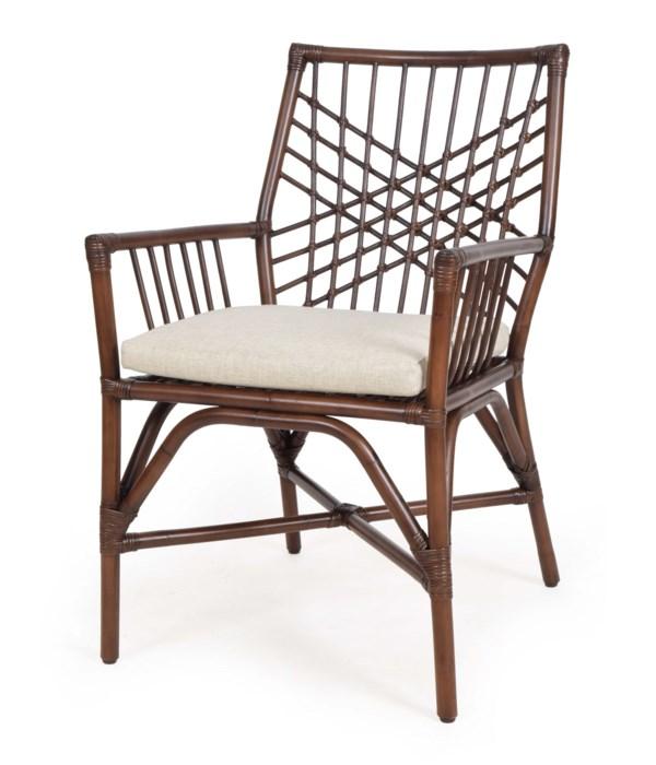 Harper  Arm  Chair Frame Color - Tobacco Cushion Color - Cream