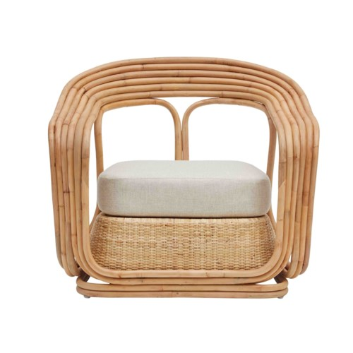 Elena Chair Rattan Color - Natural Cushion Color - Cream