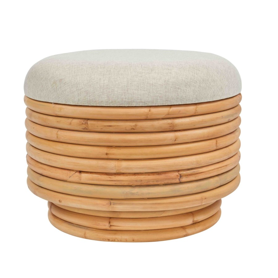 Elena Ottoman Frame Color - Natural Cushion Color - Cream