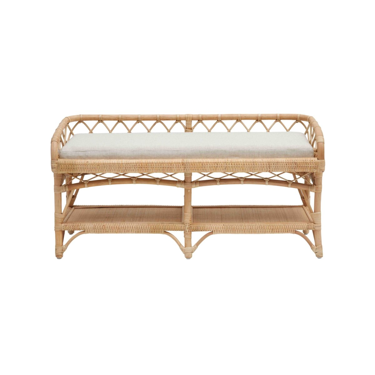 """NEW!!  Charleston 48"""" Bench Frame Color - Natural Cushion Color - Cream"""
