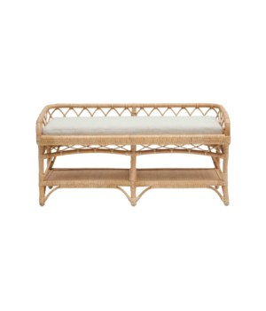 "NEW!!  Charleston 48"" Bench Frame Color - Natural Cushion Color - Cream"