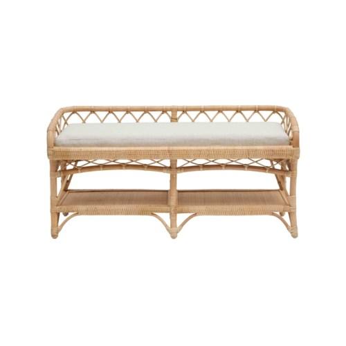 "Charleston 48"" Bench Frame Color - Natural Cushion Color - Cream"