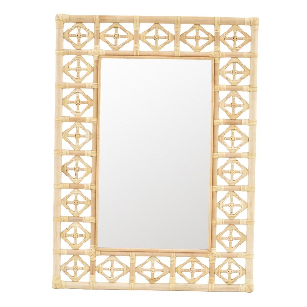 Rectangular Diamond Pattern Mirror Color - Natural