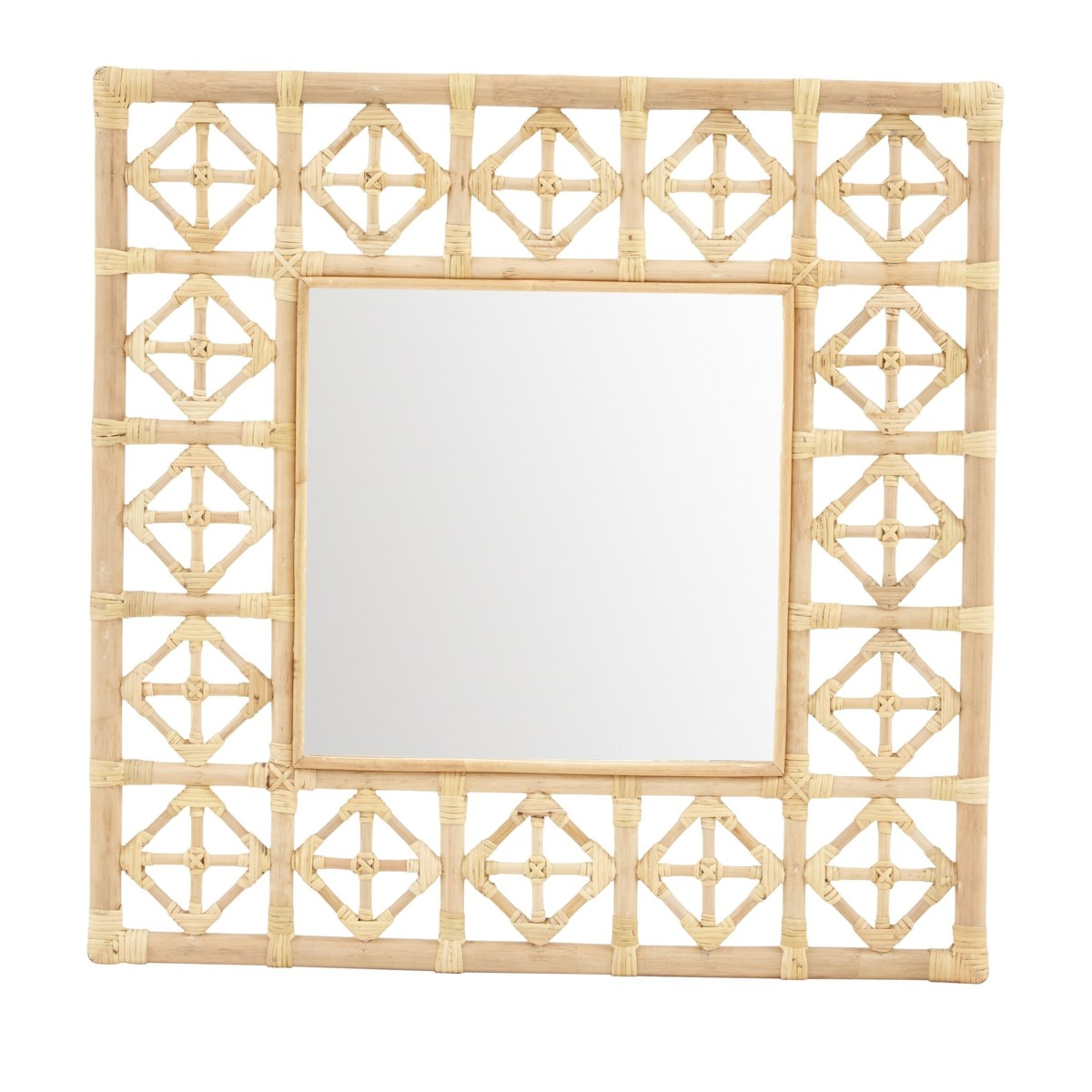 """Square Diamond Pattern Mirror  Color  - Natural  Mirror Size 16 x 16""""  CLOSE-OUT - 50% OFF!SOLD"""