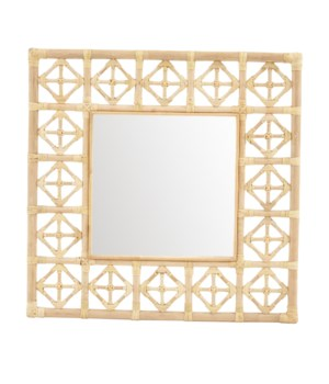 "CLOSE-OUT - 50% OFF!! Square Diamond Pattern Mirror  Color  - Natural  Mirror Size 16 x 16""  Th"