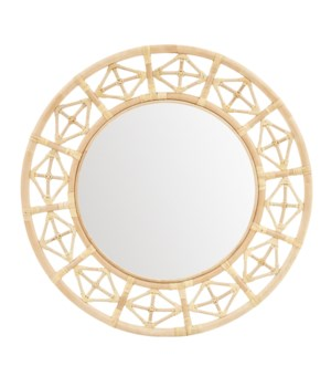 Round Diamond Pattern Mirror Color -  Natural