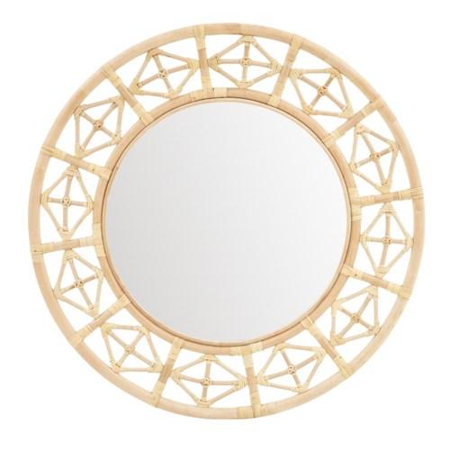 Round Diamond Pattern MirrorFrame: Natural