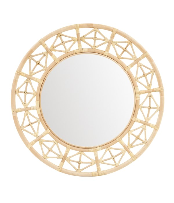 Round Diamond Pattern Mirror Color -  Natural
