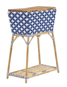 Madrid Party Bucket w/Teak Cutting Board TopRemovable Galvanized Steel BucketColor - Navy Blue & W