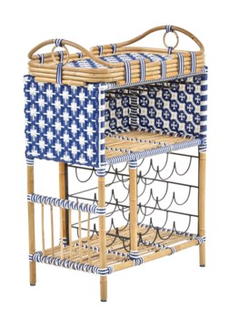 Madrid Wine Bar w/Removable Serving TrayColor - Navy Blue & White(Star Pattern)