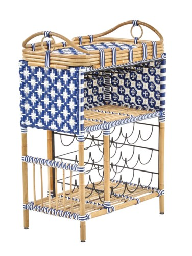 Madrid Wine Bar w/Removable Serving TrayColor - Navy & White(Star Pattern)
