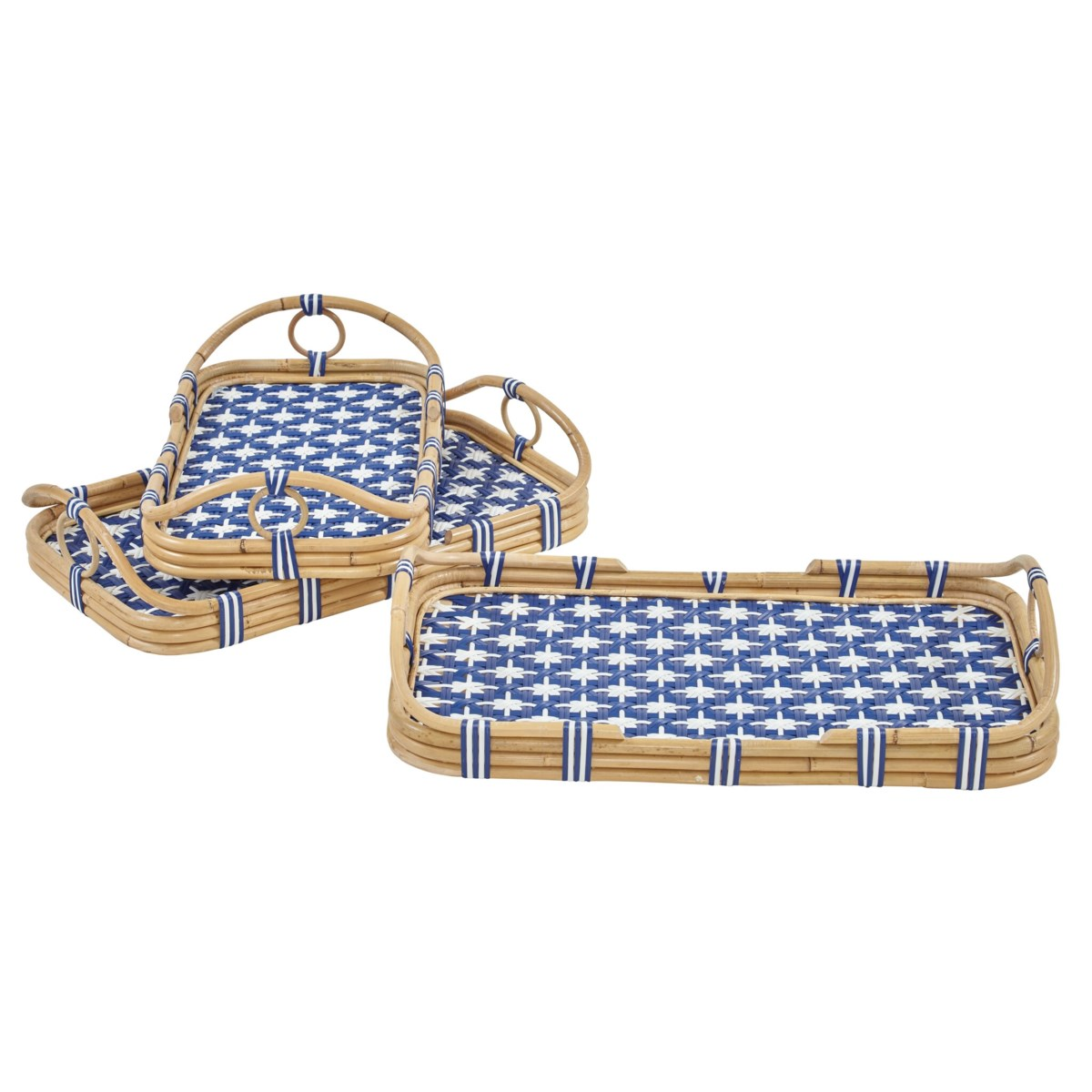 Madrid 3pc Nested Tray Set Color - Navy/White (Star Pattern)