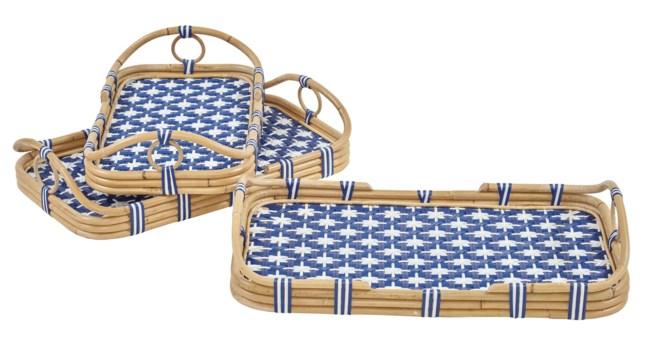 Madrid 3pc Nested Tray SetColor - Navy Blue & White(Star Pattern)