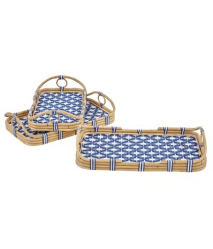 Madrid 3pc Nested Tray SetColor - Navy/White(Star Pattern)