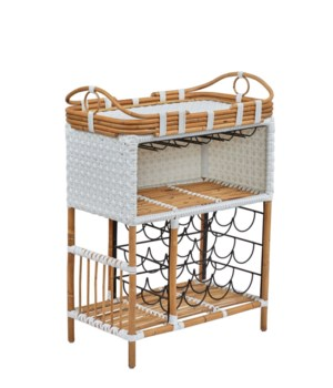 Madrid Wine Bar w/Removable Serving Tray  Color - White Star Pattern