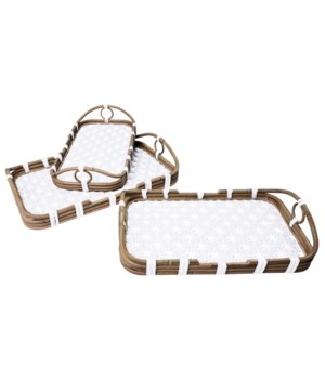 Madrid 3pc Nested Tray Set Color - White Star Pattern